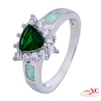 Cheap Sale Finger Wedding Rings Fine Jewelry Lady's Fashion Emerald Sapphire AAA Zircon opal anel 18KT White Gold Filled Ring F3347-R6