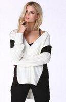 asymmetrical sweater knitting pattern - Woman sweater winter deep v neck long sleeve patchwork asymmetrical loose pullover knitting patterns HDY M648