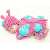 photos clothes - New Born Baby Girl Clothes Romper Butterfly Design Knit Photo Prop Outfits