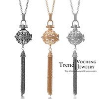 brass chain - Wind Chime Harmony Balls Pendant Colors Brass Metal Pregnancy Angel ball in Chain Necklaces VA