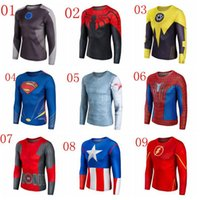 Wholesale 2015 Marvel Captain America Costume Super Hero Jersey Sport T Shirt Men USA Cosplay Clothing Long Sleeves Biking Suits Cycling Clothes