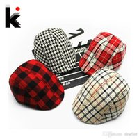 Unisex Summer Crochet Hats Free shopping 2015 Spring and Autumn Kids Fashion Berets Plaid Hats For Baby Boy And Girl Hat And Cap 15 Colors A5
