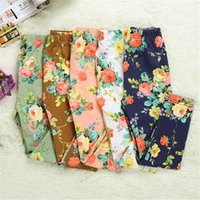 Wholesale Han edition girls cotton flower Children s Leggings Girls Leggings Kids Flowers Printed Children Begonia Floral Tights Girl Legging Pants