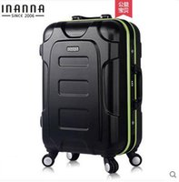 Wholesale New INANNA quot quot quot aluminum frame ABS case rolling luggage suitcase draw bar box travel case trolley bag