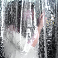 Wholesale New Clear Thicker PEVA Diamond Shower Curtain D Water Cube Mold Water White color