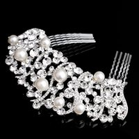 Wholesale Pearl Imitate Crystal Clear Rhinestone Tiara Hair Combs Hairpin Women Bride Wedding Pageant Silver Hairclip Combs Accessory Jewelry