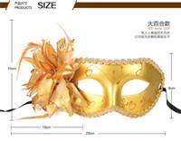 achat en gros de venetian mask-Hot vente Femmes Sexy Hallowmas masque vénitien mascarade masques avec masque fleur de plume masque dance party