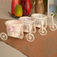 basket for bike - Small Size Tricycle Bike Design Flower Basket Storage Container For Wedding Decorations Wedding Supplies Purple Pink Blue cm L cm H