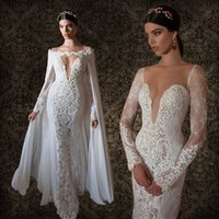 Trumpet/Mermaid mermaid gowns - 2015 Berta Bridal Sexy Plunging V Neck Wedding Dresses with Ivory Lace Long Sleeves Sheer Back With Cape Vintage Mermaid Bridal Gowns
