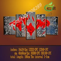 Wholesale Red Callas Flowers background of the silver gray abstract Home Decors Oil Painting Modern Art Wall Pictures Paintings On Canvas Hand Painted