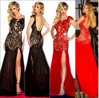 appliques - 2015 Sexy Mermaid Prom Evening Gowns Dresses with Backless IN STOCK Dresses Sheer Neck Appliques Long Formal Pageant Gown Dresses for Party
