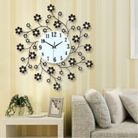 artistic iron - Long reach modern minimalist pastoral wrought iron diamond wall clock artistic creativity decorative clock watches mute shipping