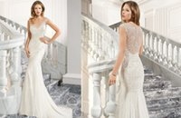 Trumpet/Mermaid Reference Images V-Neck 2015 Beading Crystals Pearls Wedding Dresses Demetrios C213 Trumpet V Neck Hollow Sweep Train Tulle Vestidos De Noiva Winter Bridal Gowns