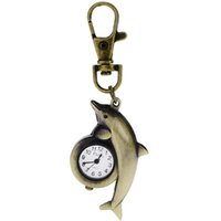 antique timepieces - Pocket Timepiece Quartz Watch Alloy Chain Dolphin Shape Glass Watches