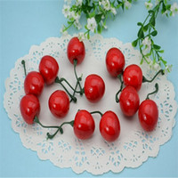 artificial holly berries - 10PCS Artificial Red Fruit Hill Haw Holly Berries With Wired Stems Christmas Home Decoration