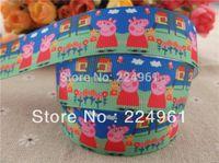 "Cheap 2013 new arrival 1"" (25mm) peppa pig printed grosgrain ribbon cartoon ribbon satin ribbon 10 yards"