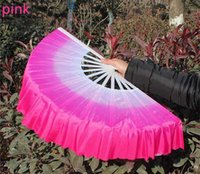 chinese dance fans - R H Gradient Chinese Chiffon Fabric Dance Fans Ladies Square Dance Fan Younger Fan Chinese Arts and Crafts drop shipping