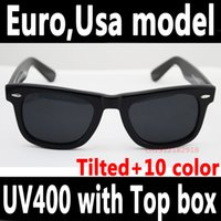 polarized sunglasses - 2016 latest high quality slanted tilted running sunglasses classic polarized or G15 glass lens vintage inclined sun glasses with box