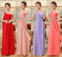 Wholesale In Stock One Shoulder Party Dress Cheap Under Prom Dresses Water Melon Sage Red Evening Gowns Crystal Beading Backless Long Formal