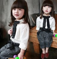 girls white shirts - Preorder Girls Clothes Kids Clothing Sets Girl Lovely Big Bow Shirts Tops Children Bowknot Striped Pants Shorts Outfits White I3112
