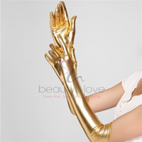 Wholesale Beautys Love Sexy Gothic Gloves Long Gloves Five Fingers Metal Leather Look Gloves Sexy Gold Silver Wet Look Adult Sexy Latex Look Gloves