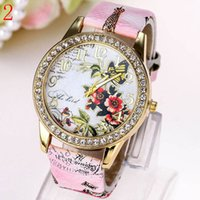 antique diamond watches - Diamond Watch For Women Butterfly Flower Pattern Printed Leather Strap Quartz Watch Dial Set With Diamonds Relogio Masculino