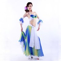 belly dancer outfit - Women Performance Belly Dancer Clothes Outfit Bra Skirt Full Circle with Sleeves Armbands Belly Dance Costume Oriental