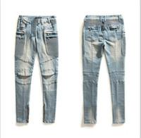 acrylic cross paintings - 2015 Women Balmain Blue Denim Distressed Zip Moto Skinny Jeans Pants Brand New Sz