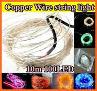 christmas lights color led - 10M V LED LED Copper Wire string light lighting Wedding Christmas Flashing LED strip strips multi color For Christmas tree