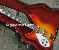 left hand - left handed strings cherry sunburst Semi Hollow body electric guitar Chinese guitar