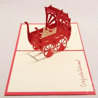 baby handmade cards - 2016 new Baby Carriage Cards For Birthday Handmade Creative D Pop UP Birthday Greeting Gift Cards
