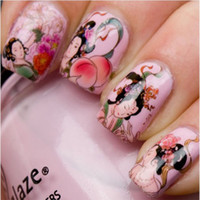 Wholesale 2015 Decoration D Sheets Fashion Nail Wrap Water Transfer Nail Art Sticker Geisha Girls Dropshipping Retail SKU B0075XX