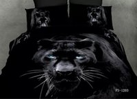Wholesale 3D Black panther bedding sets queen size quilt double duvet cover sheets bedspreads bed in a bag linen cotton leopard animal print