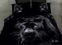 al por mayor bed sheets 3d-Negro 3D juegos de cama de matrimonio tamaño pantera edredón edredón doble hojas de cubierta colchas cama en una bolsa de ropa de algodón 4pcs de impresión de leopardo animales