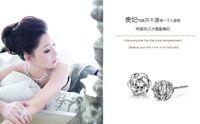 Wholesale Min order is mix order platinum plating earrings hypoallergenic diamond roses women earring