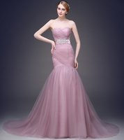 Cheap Mermaid Dusty Pink Tulle Wedding Dresses With Belt Sweetheart Corset Back Bridal Gown Custom Made