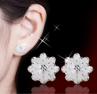 Wholesale 925 sterling silver hot style hot sweet lotus stud earrings Small pure and fresh and allergy free earrings