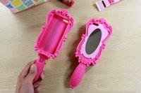 Cheap 2014 New Magic Cosmetic Mirror Girl Beautiful Doll Pink 3D Moschino Barbie Soft Silicone GEL Case for iPhone 4 4S 5 5S 6