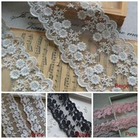 accessories textile gifts - 10cm Exquisite Flower Embroidery lace trim wedding hair bow gift home textiles accessory yards