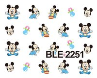 baby transfer - Water Nail Sticker Sheet Blue Baby Cartoon Nail Art Water Transfer Sticker Decal Sticker For Nail Wraps BLE2251