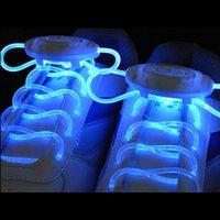 Wholesale 2015 Multi color New LED Light Nylon Flat Luminous Glowing Flash Flashing Fiber Optic Shoelaces Shoe laces Lace Shoelace shoestring Free DHL