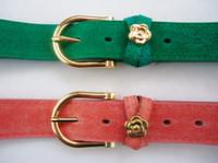 Wholesale Gentlewomen series autumn pigskin leopard print sweet flower decoration women s pin buckle belt