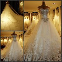 Wholesale 2016 New Grand Strapless Sweetheart Crystals Wedding Dresses Lace Bridal Gowns with Sequins and Beads Cathedral Train Vestidos De Noite
