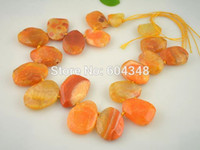 agate faceted - Full Strand Druzy Pendant Faceted Natural Druzy Line Agate Pendant in Orange color Agate Gem stone Beads Agate Slab Beads