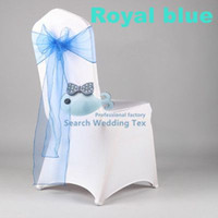Wedding Chair Spandex / Nylon any color Hot Sale White Spandex Chair Cover With Royal Blue Organza Chair Sash \ Lycra Chair Cover For Wedding