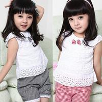 Wholesale Kids Clothing Lace Children Girl Clothes Set T Shirt And Lattice shorts Pants Colors Infant Garment