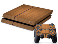 Cheap For PS4 Sticker Slim Wood Grain Vinyl Skin Sticker Decal + 2 Free Controller Skins PS4077