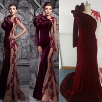 Wholesale Wine Red Velvet Evening Dresses Mermaid Crew Neckline with Ruffles and Contrasted Nude Color with Long Sleeves Formal Gowns Middle East