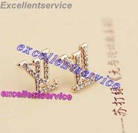 Wholesale New Design Bijoux Super Flash rhinestone earrings letter stud Earrings For Women