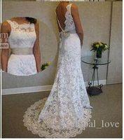 Wholesale 2017 Vintage Full Lace Beach Wedding Dresses Blackless Sheer Neck Wedding Dress Sweep Train Sleeveless Ribbon Bow Plus Size Bridal Gowns